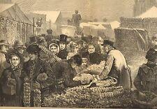 English Street Market, Birmingham Onion Fair, Vintage 1872 Antique Art Print
