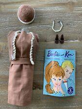 Vintage BARBIE SORORITY MEETING #937 Brown Sheath Dress, Vest Hat Shoes  VGC