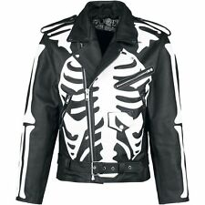 X-Ray Skeleton Design Biker Leather Jacket by Poizen Industries  (XLARGE)