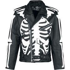 X-Ray Skeleton Design Biker Leather Jacket by Poizen Industries  (MEDIUM)