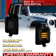 Sequential Led Side Mirror Smoked Turn Signal Lamps For 18 21 Wrangler Gladiator