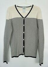 Vintage 90s Laura Ashley Black Cream Ribbed Stripe Knit Cardigan Size M UK 12