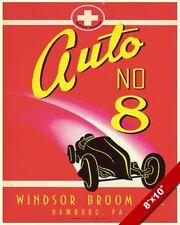 VINTAGE WINDSOR BROOM CO RACE CAR ADVERTISEMENT AD POSTER ART REAL CANVAS PRINT
