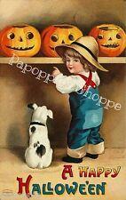 Fabric Block Happy Halloween  Vintage Postcard Image Jack o Lantern's Puppy
