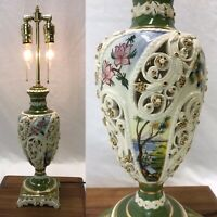 Antique Vtg RARE 1Pc Hand Painted Table Lamp SIGNED Pierce Porcelain Brass ITALY
