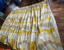 New listing Mid Century Wave Cloud Pinch Pleat Barkcloth Curtains Gold Mocha Yellow Tan 15ft