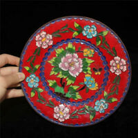 """7.87"""" Collection Old Chinese pure copper Cloisonne painting Flower plate"""