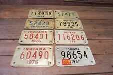 Vintage Lot Indiana Motorcycle License Plates 1974-79 & One 1987!