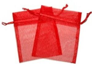 10 x Red Organza Bags Wedding Party Favour Gift Candy Jewellery Pouch 6 X 8cm