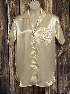 VICTORIAS SECRET SLICK SATIN PAJAMA Boyfriend Sleep Shirt Ivory Size Medium New