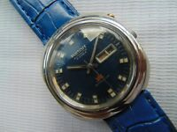 VERY RARE VINTAGE JAPAN MADE RICOH BLUE DIAL DAY/DATE GENTS AUTOMATIC WATCH