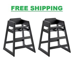 (2/Pack) Stackable Restaurant WOODEN HIGH CHAIR SEAT Baby Toddler - Black Finish