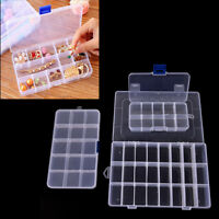 Plastic 15/10/24 Slots Adjustable Jewelry Storage Box Case Craft Organize . TOBS