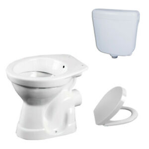 Stand WC Taharet Bidet Toilette Abfluss Wand Aquablue mit Spülkasten und Deckel