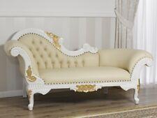 Dormeuse Joana stile Barocco Decape divano chaise longue avorio e foglia oro eco