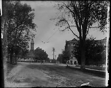 """Antique 4x5"""" Glass Plate Negative Small Town Road & Steeple (V4385)"""