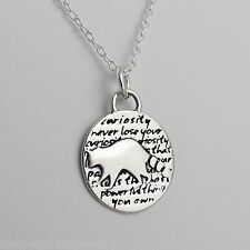 Raccoon Charm Necklace - 950 Sterling Silver Handmade Inspirational Pendant NEW