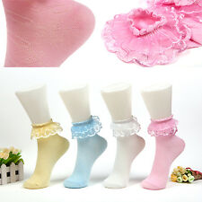 NT Vintage Lace Ruffle Frilly Ankle Short Socks Ladies Princess Girl Stockings