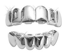 Platinum Silver Mouth Teeth Grills Grillz Upper & Lower Set New Player USA SHIP