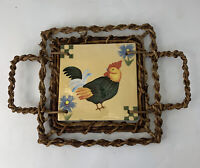 Vintage Ceramic Painted Rooster Trivet Hot Plate Farmhouse Handles Philippines