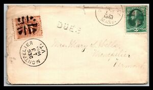 GP GOLDPATH: US COVER 1881, WELLESLEY, MA. POSTAGE DUE _CV683_P18