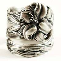 Vintage Women 925 Silver Carved Flower Ring Bride Wedding Jewelry Adjustable