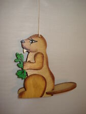 Beaver Ornament Carved Wood 37183C 51