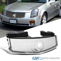 For 03-07 Cadillac CTS Polished Chrome S/S Mesh Style Front Bumper Hood Grille