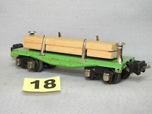 LIONEL PRE-WAR TINPLATE O GAUGE #2651 FLAT CAR WITH WOOD LOAD READY TO RUN V.G.