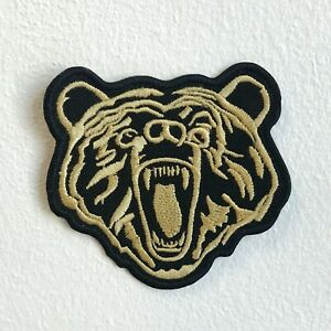 Grizzly brown bear Iron Sew on Embroidered Patch