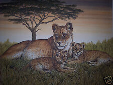 """""""Lioness & Cubs"""" by Christine Marshall Limited Edition ARP Lithograph #10/25"""