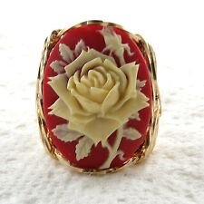Cream Rose Bud Cameo Ring 14K Rolled Gold Jewelry Resin Size Selectable
