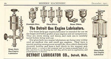 1901 DETROIT GAS ENGINE LUBRICATOR GLASS & BRASS OILERS AD DETROIT MI MICHIGAN