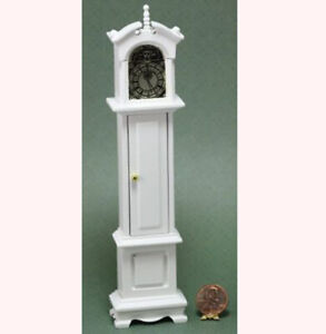 Dollhouse Miniature Grandfathers Clock in White
