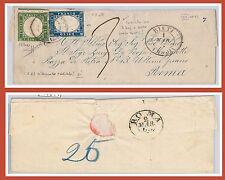 Storia Postale MISTA: ITALIA Sass 11 + SARDEGNA Sass 13Da su BUSTA da RIETI 1863