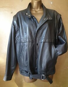 Beautiful soft dark grey leather retro jacket, s.38(8), zip off sleeves option.