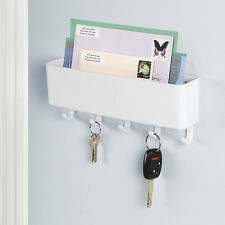 mDesign Mail, Letter Holder, Key Rack Organizer for Entryway - Wall Mount, White