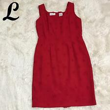 Liz Claiborne Womens Dress Size 8 Sleeveless Embroidered Red Career Poly 03