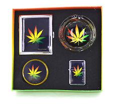 Smoker Cigarette Case Glass Ashtray Oil Lighter Plastic Grinder Present Gift SET