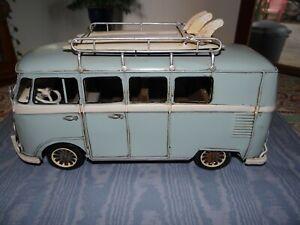 Vintage Style Metal Tin Blue VW Volkswagen Camper Van Bus Model Surfboards Art