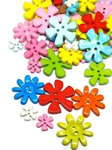 30 pcs Cute mix size big flower Buttons 2 Holes assorted colors size 17 - 32 mm