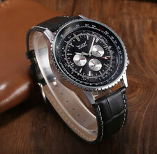 Jaragar Navitimer Homage Automatic Mechanical Watch Leather Black White Face