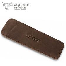 Laguiole en Aubrac - 11/12 cm Taschenmesser Leder Etui braun vintage Messerhülle