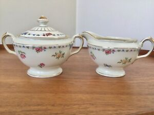Vtg KPM Germany Royal Ivory Sugar Bowl & Creamer Set ~ Multicolored Florals