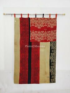Handmade Kantha Floral Indian Fusion Vintage Curtain Boho Curtain Reversible