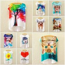 Casual Women T Shirt Unicorn Pony Print Summer Blouse Batwing Tee Tops Plus Size