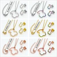 Cute Teddy Bear Hollow Pendant Necklace Earrings Women's 18k Crystal Jewelry Set