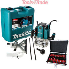 """Makita RP1801XK 1/2"""" Plunge Router 1650w Motor in Kitbox 240V + 12pc Cutter Set"""