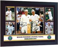 Roger Federer Rafael Nadal photo signed poster gift Wimbledon 2019 Framed
