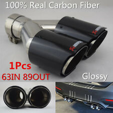Glossy Carbon Fiber Car SUV Dual Exhaust Pipe Tail Muffler Tip 63mm In-89mm Out